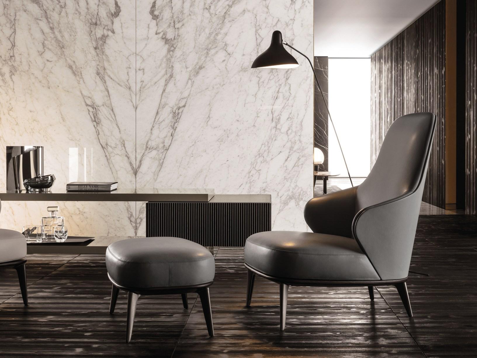 Leslie Armchair & Footstool by Minotti