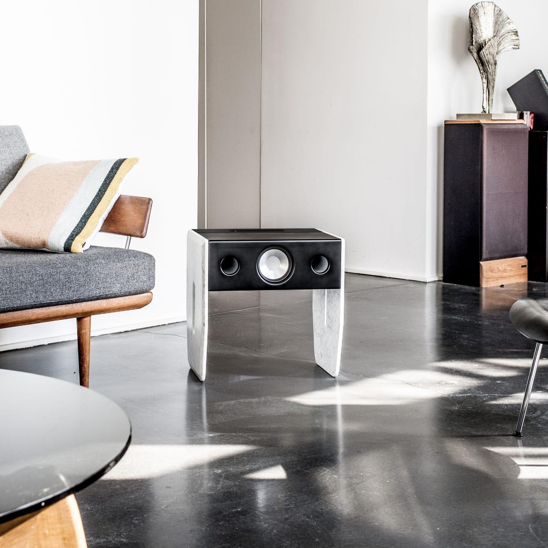 Cube Marble Side Table / Speaker by La Boite Concept