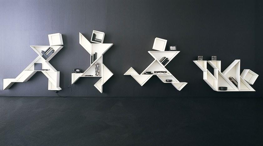 Tangram Wall-mounted Modular Bookcase by Daniele Lago