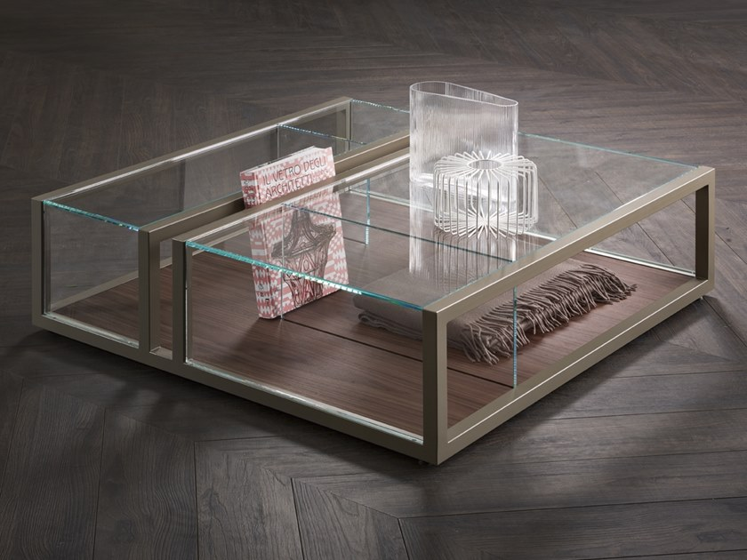 Natevo Square Crystal Coffee Table by Matteo Nunziati