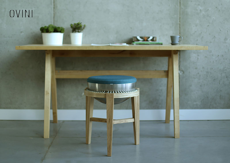 Ball Bearings Allow the Wood Stool to Move Freely