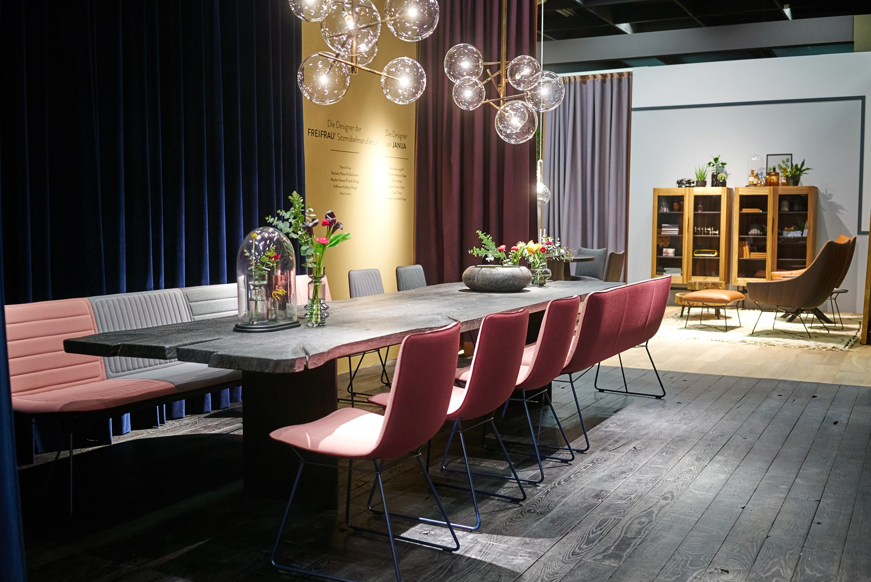 Velvet, Leather and Light Wood Furniture by Freifrau