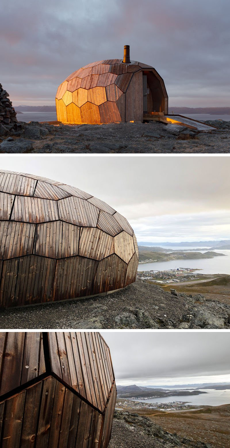 Wood Cabins on Top of a Mountain in Hammerfest, Norway