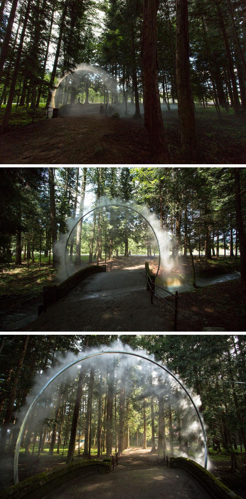 A Sculptural Arch of Mist by James Tapscott in Omachi, Japan