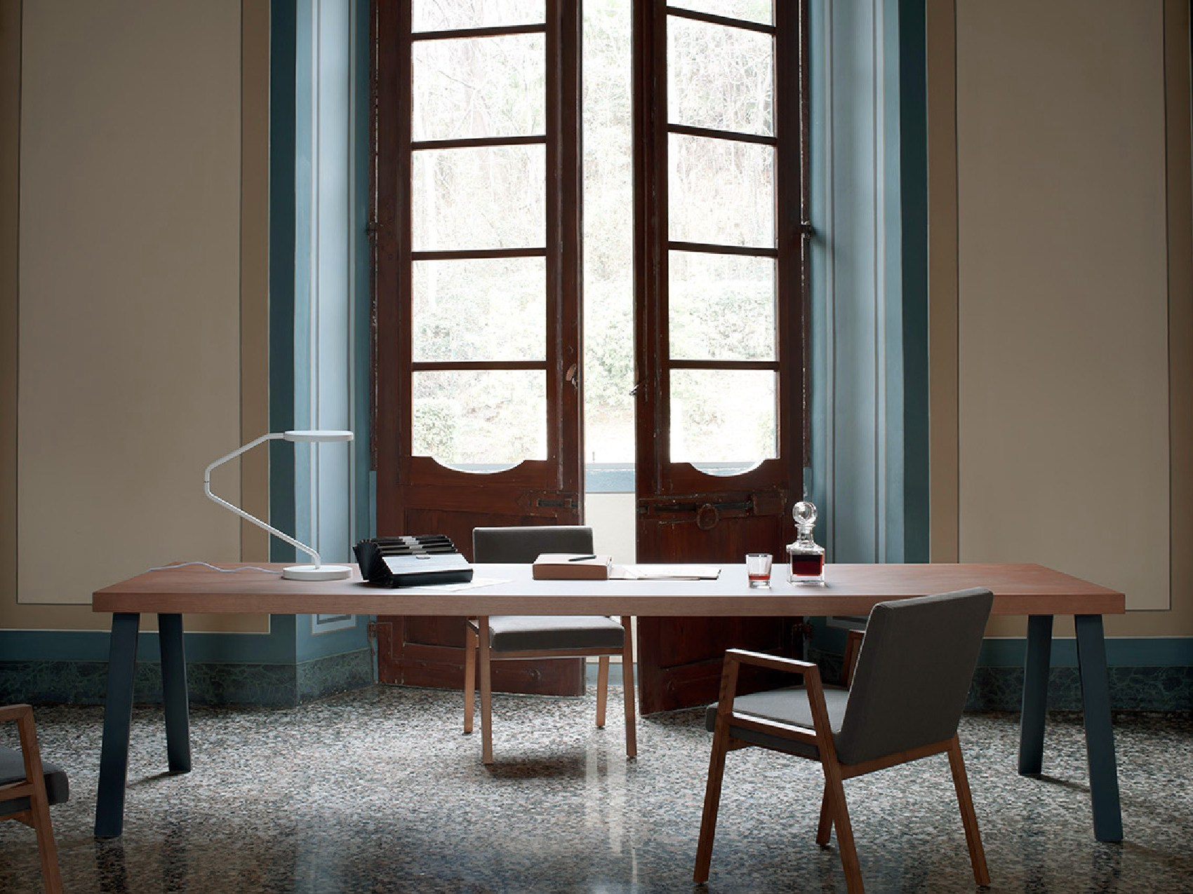 Sectional Rectangular Wooden Office Desk by Pietro Arosio
