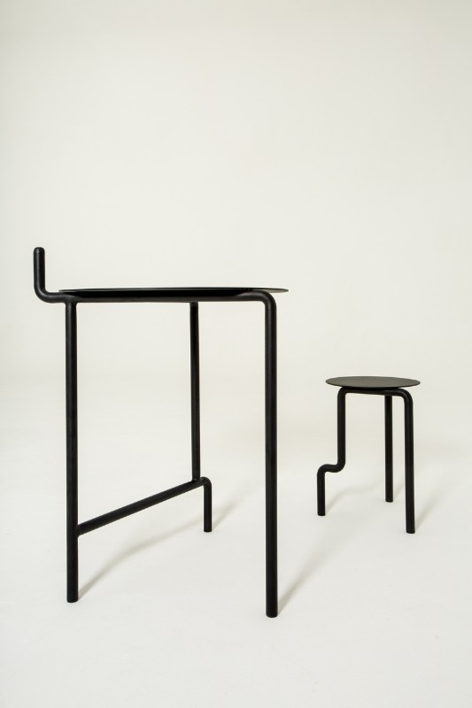 Asymmetrical Metal Furniture Collection by Pierre-Emmanuel Vandeputte