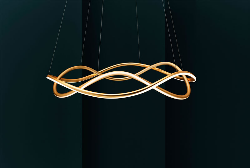 A Sculptural Suspended Lamp with LED Lighting by studio Luum